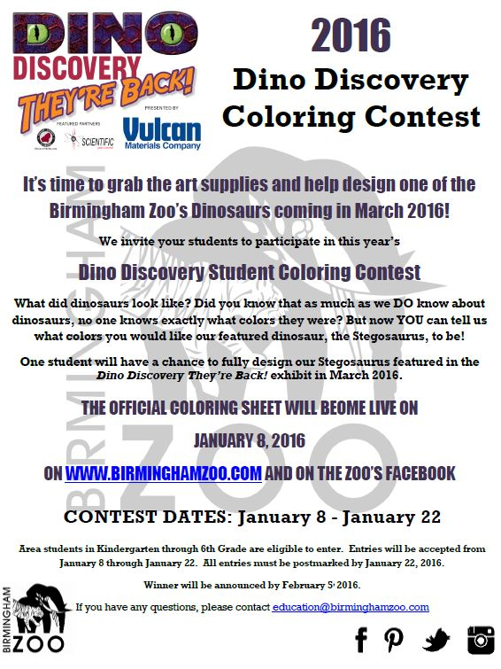 Dino Discovery Student Coloring Contest Birmingham Zoo